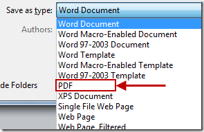 Save as PDF word 2010