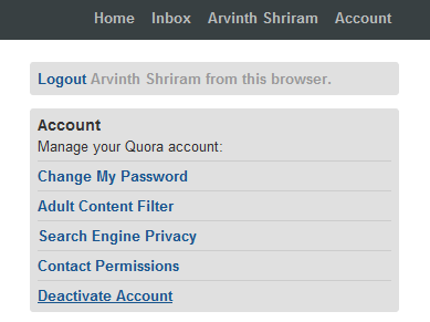 Deactivating quora account