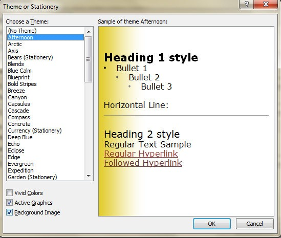 how to set background image in outlook 2013