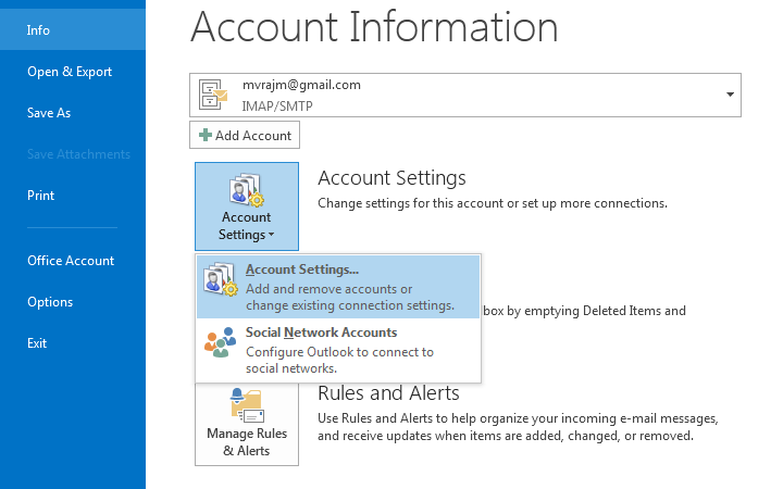 Updating password in outlook 2013