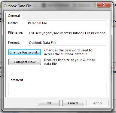microsoft outlook 2013 password reset