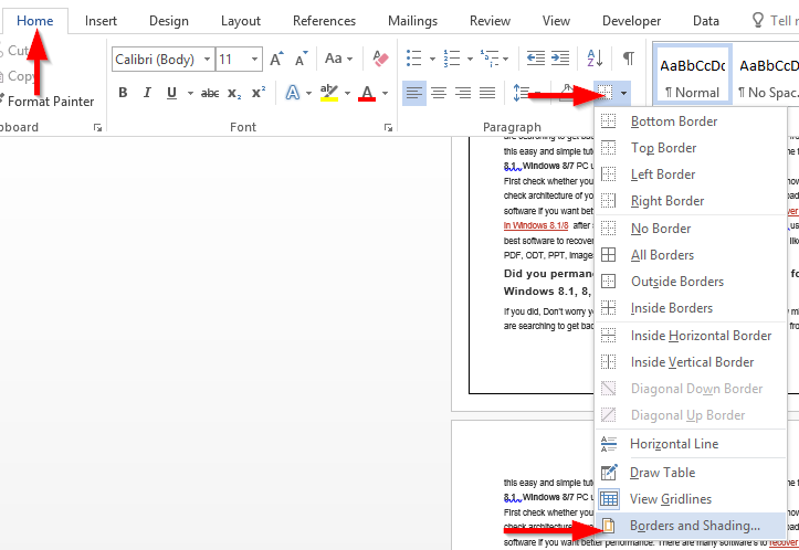 Insert custom page border into Word 2016 and 2019 documents ...