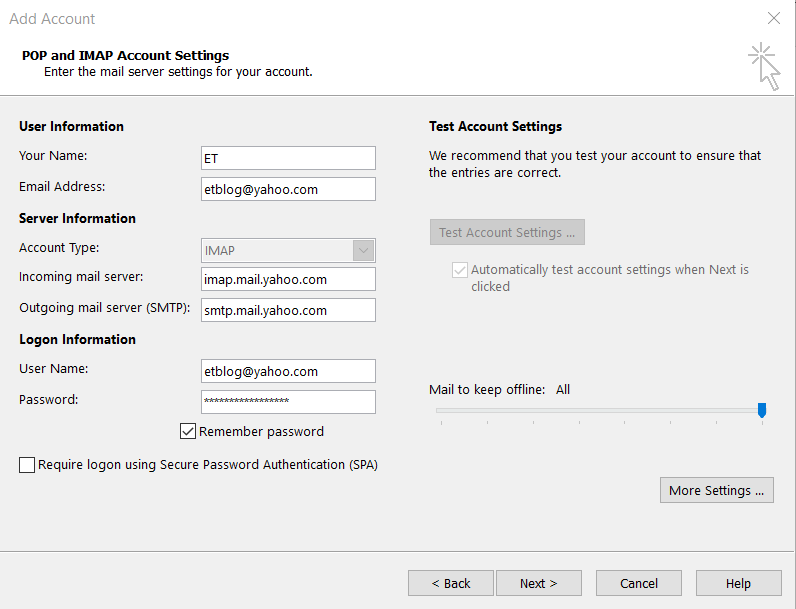 yahoo mail set up email account
