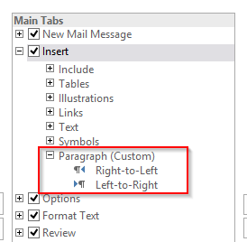 how to write left and right in word